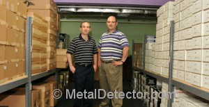 Michael and Daniel Bernzweig at the MetalDetector.com warehouse in Southborough, MA during the taping of the Chronicle television episode on their company.