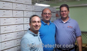 Daniel and Michael Bernzweig of MetalDetector.com along with Vince Gifford of Tesoro Metal Detectors during his recent tour of the MetalDetector.com warehouse in Southborough, MA.