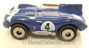 metal detectors can locate an antique toy car such as the one pictured here