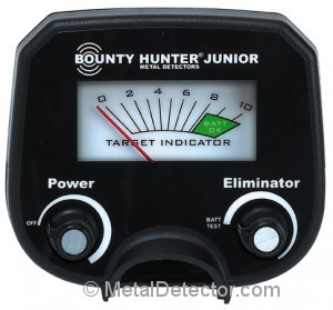 Picture of the Bounty Hunter Junior Treasure Tracker Metal Detector controls