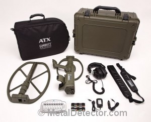Photo of the Garrett ATX metal detector with deepseeker accessories package