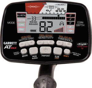 Easy-to-use controls on the Garrett AT Max metal detector.