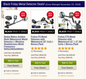 Our 2018 Black Friday Metal Detector Deals were just announced and listed tonight.